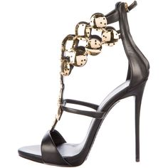 Pre-owned Giuseppe Zanotti Coline 101 Leather Sandals (1.385 BRL) ❤ liked on Polyvore featuring shoes, sandals, black, genuine leather shoes, zip shoes, black leather shoes, leather shoes and black leather sandals