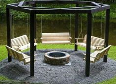 Cool fire pit seating idea... ♡♥♡