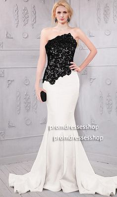 fabulous beaded lace bodice two tone color block mermaid dress inspired by Anna Gunn Black Dresses Multi-Color Dresses White Dresses Prom Dresses 2015, Ball Dresses, Ball Gowns, Formal Dresses, Wedding Dresses, Formal Wear, Inexpensive Prom Dresses, Cheap Evening Dresses, Evening Gowns