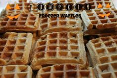 Have you ever made freezer waffles? So easy to pull from a freezer bag and toast. Easy for kids and adults, no-cleanup. This recipe makes 2 dozen. Pumpkin Freezer Waffles-momonamission.me