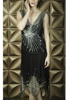 The Socialite - Art Deco Crystal Gown - Black Jet