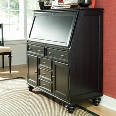 Not realistic work space but so nice all the same... Camden Drop Lid Secretary Desk - Black