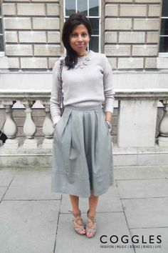 #lfw streetstyle with neutral soft-knit sweater, grey midi skirt and strappy sandals.    See #coggles #streetstyle http://www.coggles.com/life/street-style.list?fullsite&affil=thgsocial #fashion #style #clothes #womenswear