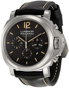 Panerai Men's PAM00356 Luminor Contemporary Chronograph Watch http://newtimepieces.com/panerai-watches-4/ Stainless steel case with a black leather strap with contrasting stiching. Fixed stainless steel bezel. Black dial with orange hands and stick hour markers. Arabic numeral marks the 12 o'clock position. Minute markers around the outer rim. Date display between the 4 and 5 o'clock positions. Chronograph - three sub-dials displaying: 60 seconds...