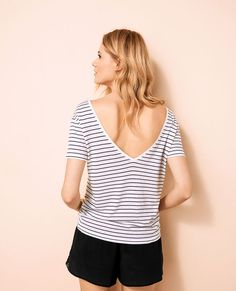 T-shirt court dos ouvert Multicolore Ideal