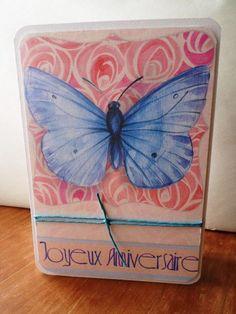Carte double papillon bleu Joyeux Anniversaire faite main 21cm x 15cm : Cartes par card-bubble