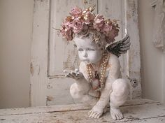 Distressed cherub statue w/ handmade ornate by AnitaSperoDesign