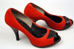 ~1950s shoes // pinup peep toe heels // the by LivingThreadsVintage, on Etsy~