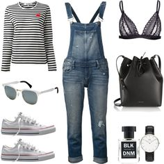 I could wear this everyday by fashionlandscape on Polyvore featuring Mode, Play Comme des Garçons, Paige Denim, Converse, Mansur Gavriel, Daniel Wellington, Ray-Ban and BLK DNM