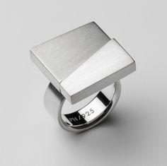 www.ORRO.co.uk - Patrik Hansson - Large Square Silver Ring - ORRO Contemporary Jewellery Glasgow