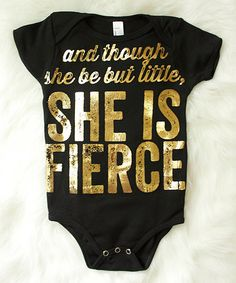Another great find on #zulily! Black 'She Is Fierce' Bodysuit - Infant #zulilyfinds