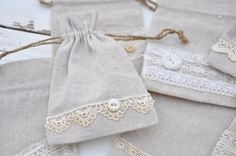 "Natural Linen Shabby Chic Vintage Lace 4 x 6"" Drawstring bags Wedding Favors Jewelry Pouches on Etsy, $5.00"
