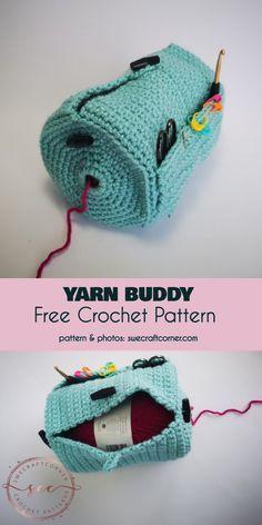 Yarn Buddy Free Crochet Pattern #freecrochetpatterns #crochetyarncontainer #yarnbasket Crochet Gifts, Crochet Home, Knit Or Crochet, Crochet Stitches, Crotchet, Crochet Geek, Crochet Purses, Crochet Handbags, Crochet Accessories