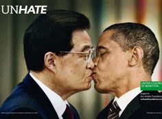 Benetton's controversial kissing ads. http://www.washingtonpost.com/lifestyle/style/benettons-controversial-kissing-ads/2011/11/17/gIQA5qxZUN_gallery.html#photo=1