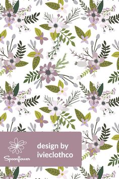 Lavender Sprigs and Blooms by ivieclothco - Hand illustrated lavender florals on fabric, wallpaper, and gift wrap.  Soft lavender and olive colored flowers and leaves.  This beautiful soft floral pattern is perfect for making handmade napkins or wallpapering a bathroom or dining room. #flowers #illustration #floral #lavender #olive #botanical #design #surfacedesign #diy #sewing #sew