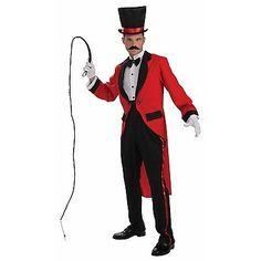 Men's Ringmaster Costume Circus Carnival Ring Leader Lion Tamer Freak Side Show