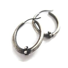 Oval Hoop Earrings Granulated Hoops  Oxidized Silver by SHERIBERYL