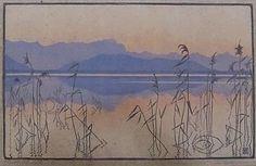 """✨ EVA ROEMER, German (1889-1972) - Abend am See. Farbholzschnitt, rechts unten mit Bleistift signiert """"Eva Roemer"""", links unten bez. """"Original-Holzschnitt"""", ca 40 x 26 cm ::: Evening at the Lake, color woodcut"""