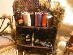 Enchanted Faerie or Gnome Bookcase - Handmade from Fallen Bark - OOAK - What a Beautiful Gift! on Etsy, £15.78