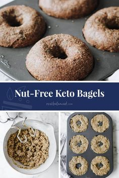 Nut-Free Keto Bagels are a wonderful low-carb, keto-friendly breakfast idea. Made with sunflower seed meal and coconut flour, these bagels are gluten-, grain-, and refined sugar-free. They're also paleo diet-compliant. Loaded with your favorite keto ingredients, these savory bagels are delicious when toasted and served with a little grass-fed butter, sugar-free chia jam, low-carb jelly, or nut butter. They're light and fluffy too! #realbalancedblog #ketobagels #nutfreebagels #lowcarbbagels Easy To Make Breakfast, Low Carb Breakfast, Breakfast Recipes, Free Keto Recipes, Low Carb Recipes, Real Food Recipes, Bread Recipes, Cooking Recipes, Best Low Carb Bread