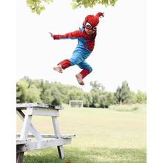 I suggested she jump off the bench. She told me Spider-Girl does not jump off low benches and neither do 5 year olds. I stand corrected. Boy Birthday Pictures, Boy Pictures, Boy Photos, Toddler Photos, Toddler Boy Photography, Little Boy Photography, Beach Sunset Painting, Superhero Pictures, Boy Photo Shoot