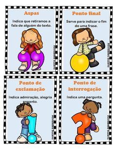 Sinais de pontuação cartazes ilustrados | Atividades Pedagogica Suzano Curriculum, Homeschool, Kindergarten Anchor Charts, Learn Brazilian Portuguese, Portuguese Language, Fairy Tales For Kids, Spanish Activities, School Items, A30