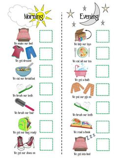 Dynamic image inside children's routine charts free printable