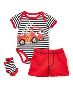Red Firetruck Bodysuit Set - Infant