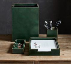 Gia Leather Desk Accessories - Green | Office Accessories | Pottery Barn
