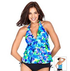 Carribean Joe swimwear reflects a spirit of elegance, ease, and relaxation. This versatile line features quality fabrics, comfortable fits for all sizes, and thoughtful details to accommodate individual style. Slip into a vacation state of mind Style Number: 861580 Ruffle trim tankini swim top with deep plunge, Built-in, foam-lined wire-free cups, Single hook closure halter neckline, Stretch microfiber Average Figure, #spandex #coupons #swimwear