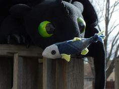 Toothless Plush Dragon with Fish by CreativityGoneWild on Etsy, $290.00