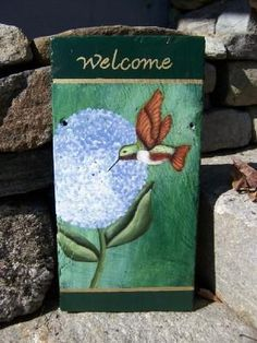 Outdoor Slate Welcome Signs | view a larger size of this Hydrangea Hummingbird Welcome Slate slate.