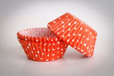 CUPCAKE baking cups made from orange/white polka by buyititaly, €2.99