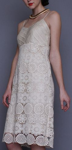Beige Pleated Lace V-Neck Dress