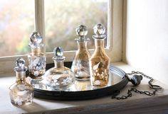 Smoked Miniature Cut-Glass Perfume Bottle Set