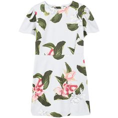 MANGO Floral print dress (1.065.145 IDR) ❤ liked on Polyvore featuring dresses, lace dress, mango dresses, floral print dress, white day dress and short sleeve dress