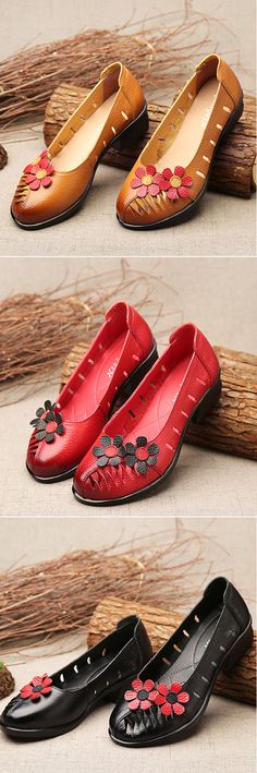 US$28.53 SOCOFY Flower Hollow Out Original Low Heel Vintage Flat Shoes