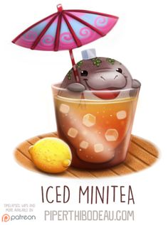 Daily Paint 1586. Iced Minitea by Cryptid-Creations Time-lapse, high-res and WIP sketches of my art available on Patreon (:Twitter • Facebook • Instagram • DeviantART