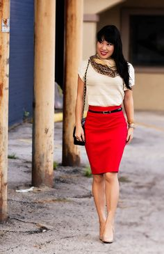 Red skirt + white blouse & accent scarf = awesome.