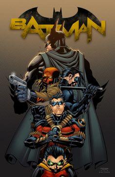 Batman, Red Hood, Nightwing, Red Robin & Robin - Gotham's Batmen Batman, Jason Todd, Dick Grayson, Tim Drake, & Damien Wayne ( Bruce's son)