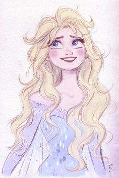 Quick Disney's Elsa sketch by princekido  I need to see Elsa with her hair down in canon animation before I die! Also, this picture^^^is the closest I've ever seen to it being the actually animated Elsa with her hair down. To this artist, God bless you