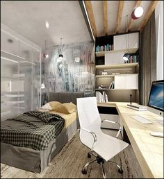 Черновая отделка стен, потолок из деревянных балок, практичная и функциональная мебель - элементы интерьера кабинета, оформленного в лофт стиле.