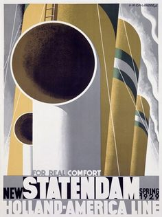 New Statendam 1929 Holland-America Line - www.MadMenArt.com | Travel Vintage Advertising Posters. Features travel destinations all over the world, reached by bicycle, motorbike, train, boat or airplane. #Travel #Posters #Vintage #Ads #VintageAds #TravelPosters