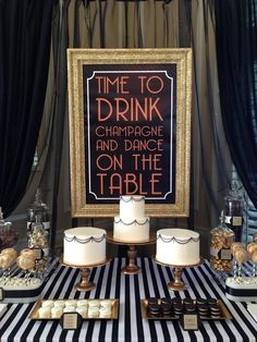 black,white,gold art deco, gatsby dessert display/buffet by Blissfullysweetpdx.com