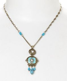Another great find on #zulily! Gold & Turquoise Flower Pendant Necklace by Treska #zulilyfinds