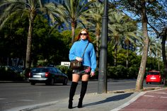 Blue sweater and over the knee boots outfit