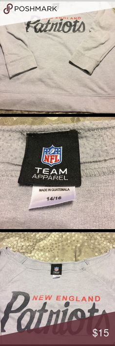 Patriots off shoulder sweatshirt NFL team apparel Patriots sweatshirt, light weight, wide neckline, could be worn off shoulder, grey, size 14/16, purchased at Lane Bryant and worn a couple of times, still in great condition Lane Bryant Tops Sweatshirts & Hoodies