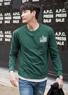 [[CHO.34] 성조기레이어드 맨투맨 티셔츠] 남자 쇼핑몰 남자패션 남성패션 남자 패션 남성 패션 맨투맨 티셔츠