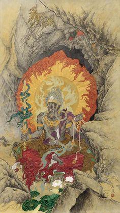 Kanō Hōgai (狩野 芳崖 1828–1888) Japanese Tattoo Art, Japanese Artwork, Japanese Prints, Japanese Design, Japanese Mythology, Japanese Folklore, Japan Painting, Ink Painting, Buddha Art