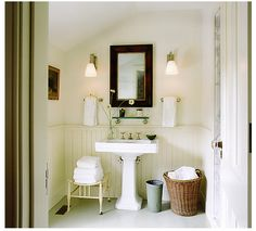 pedastal sink and beadboard Open Bathroom, Bathroom Rules, Bathroom Images, Bathroom Cleaning, White Bathroom, Bathroom Organization, Bathroom Ideas, Bathroom Designs, Seaside Bathroom